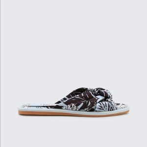 Dolce Vita Brown and Blue Printed Halle Sandals
